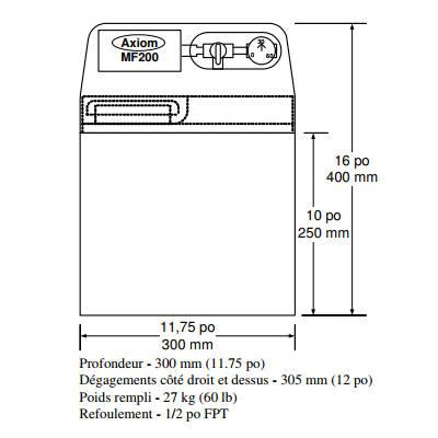 Spécification pompe MF200, mini alimentateur de système hydronique